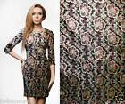 METALLIC FLOWER MOTIF BLACK GOLD Asian Brocade Silk Fabric GP-620