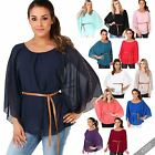 Womens Casual Oversized Chiffon Blouse Top Belted Batwing Short Sleeve Tee Tunic