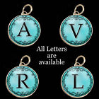 Initials Letters Aqua Blue Vtg Typewriter Key Size Necklace Silver Charm Pendant