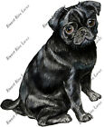 BLACK PUG DOG LOVER LAPTOP TABLET IPAD NOTEBOOK KINDLE EBOOK DECAL STICKER GIFT