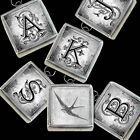 Letters Initials Wedding White Sparrow Bird Necklace Silver Pewter Charm Pendant