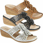 NEW BOULEVARD LADIES GIRLS SUMMER PUNCHED FLORAL BAR COMFORT CASUAL MULE SANDAL