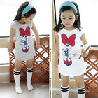 2015 Kids Girls Minnie Long T-shirt Birthday Party Dress Bow Skirt Clothes 3-8Y