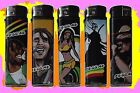 SET OF 5 ELECTRONIC STYLE LIGHTERS - CANNABIS, REGGAE & BOB MARLEY