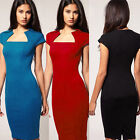 Fashion Women's Square Neck Bodycon Business Party Pencil Wiggle Dress N527