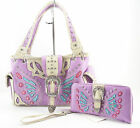 CONCEALED WEAPON CARRY HAND GUN WESTERN PURPLE BUTTERFLY PURSE WALLET SET 7-6