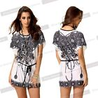 Women Loose Fashion Tied Peplum Short Sleeve T-shirt Long Personalized Top NB111
