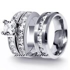 New 3 Pcs Mens & Womens Stainless Steel 3.75Ct Engagement Wedding Ring Set