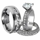New Copule 3 Pcs His & Her Stainless Steel Engagement Wedding Ring Set