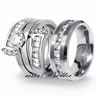 New Copule 3 Pcs Mens Womens Stainless Steel 2.75Ct Engagement Wedding Ring Set