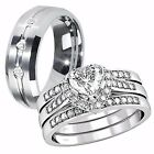 Her .925 Sterling Silver Heart CZ His Tungsten Matching Wedding Ring Band Set