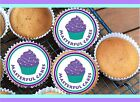 12 PERSONALISED EDIBLE CUP CAKE TOPPERS IN RICE, WAFER PAPER OR ICING