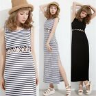 Multiple Cut-outs Slim Fit Women's Summer Beach Striped Long Dress Slit Bodycon