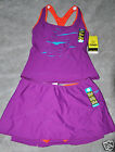 Zumba Speedo Aqua swimsuit Two-pieceTankini set Orange Purple padded bra 12 New