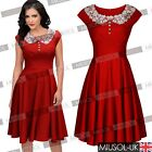 Ladies Women's Vintage 1940s Style Lace Collar Retro Swing Evening Party Dress