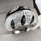 B1-R607 Fashion Rhinestone Ring Black Glaze 18KGP Crystal Size 6-9
