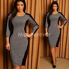 Chic Women's Formal Business Half Sleeve Party Houndstooth Pencil Dress NB44