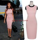 Women's Work round neck slim strench sleeveless bodycon pencil dress B38
