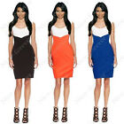 Women's Celebrity colorblock Optical Illusion V neck Bodycon Cocktail Dress N743