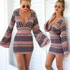 Fashion Casual Women Bodycon Long Sleeve Evening Sexy Party Cocktail Mini Dress
