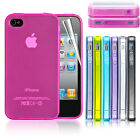 Ultra Thin Silicone Case Cover With Dust Plug For iPhone 4 4S Free Screen Guard