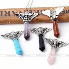 Natural Gemstone Hexagonal Skull Flying Wing Pendulum Bead Pendant For Necklace