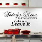 Todays Menu Kitchen Wall Sticker Quote   Decor Removable Decal Mural Uk