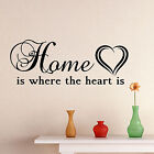 Home Is Where The Heart Is Wall Sticker Quote | Living Room Decor Mural Decal Uk
