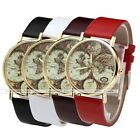 Antique Golden The Earth & World Global Map Leather Band Quartz Wrist Watch Gift