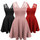 Womens New Burgundy Retro Vintage 50s Style Prom Party Summer Dress