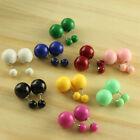 9 colors Two Beads Double Ball Ear Silver Plated Sided Stud Bubble Earrings Y-pk