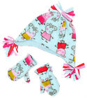 Girls Official Peppa Pig Fleece Hat & Mittens Winter Set Turquoise 1 to 6 Years
