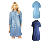 Women 3/4 Sleeve Single-breasted Button Down Long Denim Shirt Tunic Top  Blouses