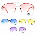 SA106 Unisex Light Bright Pop Color Gradient Rimless Aviator Sunglasses