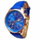 Women Fashion Geneva Roman Numerals Faux Leather Band Analog Quartz Wrist Watch