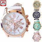 Women Fashion Geneva Roman Numerals Faux Leather Band Analog Quartz Wrist Watch image