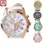 Jewelry Watches - Women Fashion Geneva Roman Numerals Faux Leather Band Analog Quartz Wrist Watch