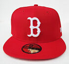 Boston Red Sox Red On White Logo All Sizes Fitted Cap Hat by New Era