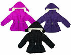 Girls Beautiful Padded Fleece Lined Belted Winter Coat with Hood 3 to 14 Years