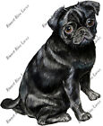 BLACK PUG DOG LOVER AUTO BOAT RV MULTI SURFACE VINYL DECAL STICKER ART GIFT