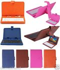 "7"" Tablet Keyboard Case Stand Faux Leather Folio USB 2.0 Android PC A13 Q88 Gift"