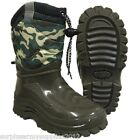 KIDS ARMY FLEECE LINED WELLIES RAIN SNOW SKI BOOTS CAMOFLAUGE BOYS TODDLER