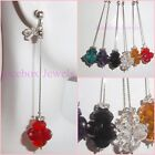 CLIP ON or Pierced 3 inch Glass Crystal Cluster Dangle Long Fashion Earrings
