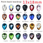 20pc 13x18mm faceted pointback teardrop foiled crystal rhinestones stones Jewels