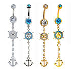 14G Sexy Clear Blue Anchor Long Dangle Barbell Belly Button Navel Ring Piercing