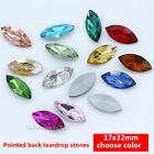 15 Vintage Rhinestone Faceted Pointed Foiled back crystal Jewels navette 32x17mm