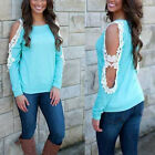 Fashion Womens Ladies Long Sleeve Casual Lace Shirts Tops Blouse T-Shirt Blue