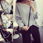 Hotly Vogue Women's Loose Geometry Pullover T-Shirt Long Sleeves Tops Blouse