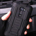 Armor Impact Heavy Duty Rugged Hybrid Case Belt Clip Stand Cover For LG/Huawei