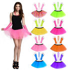 NEON TUTU SKIRT SET & NECKLACE FISHNET GLOVES FANCY DRESS